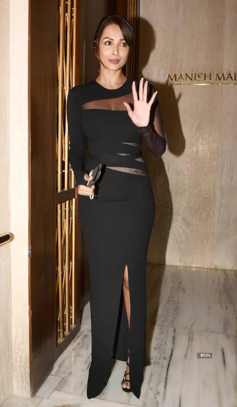 Malaika Arora makes heads turn in a black high-slit cutout dress at Manish Malhotra's starry party