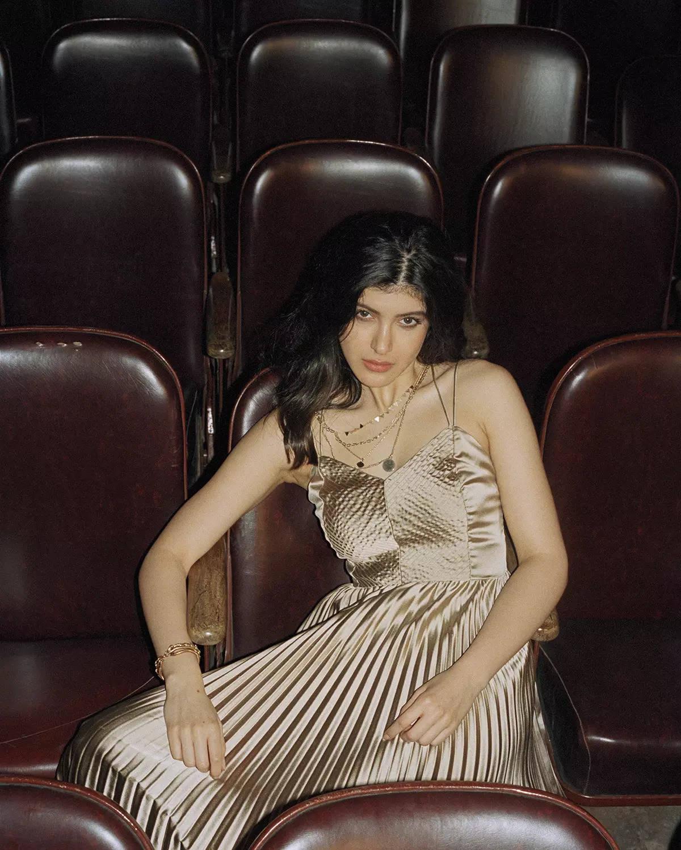 LABEL Ritu Kumar_Shanaya Kapoor in Pleated Metallic Maxi Dress