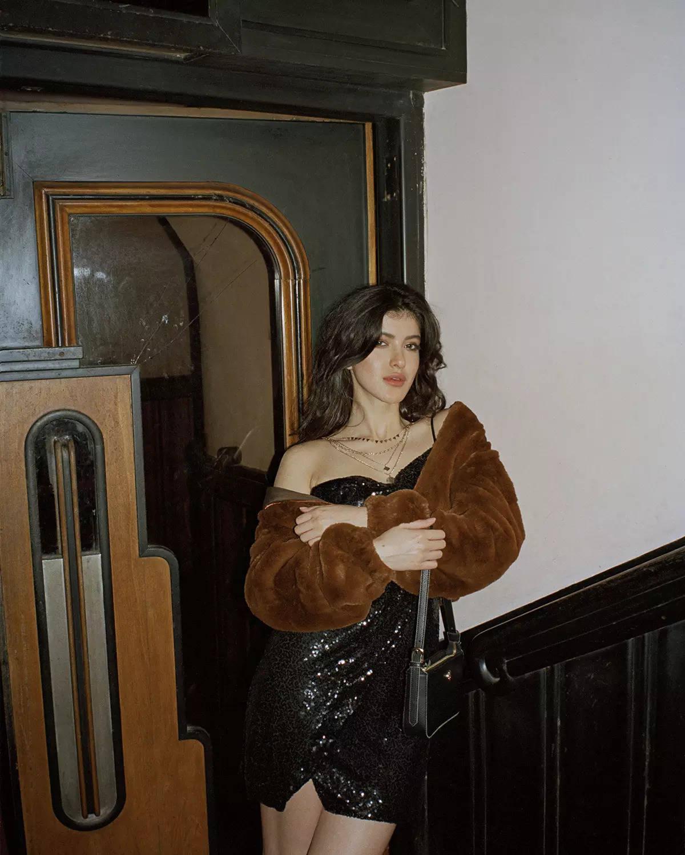 LABEL Ritu Kumar_Shanaya Kapoor in Sequin Dress + Fur Jacket + Black Bag