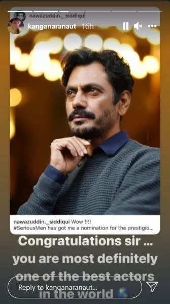 Kangana congratulates Nawaz for Emmy nomination