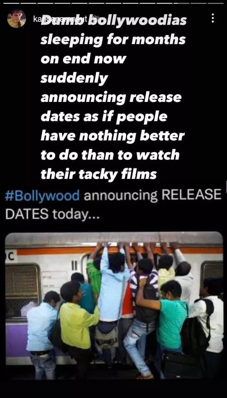 Kangana Ranaut takes a dig at 'Bollywoodias'