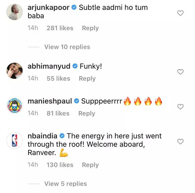 , Neena, Arjun comment on Ranveer's NBA post, The World Live Breaking News Coverage & Updates IN ENGLISH