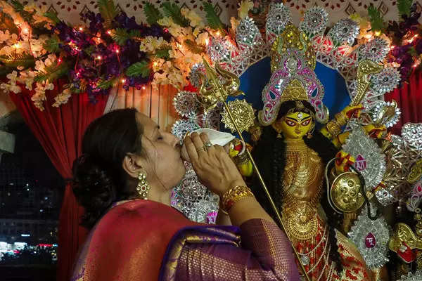 Durga Puja being celebrated with religious fervour