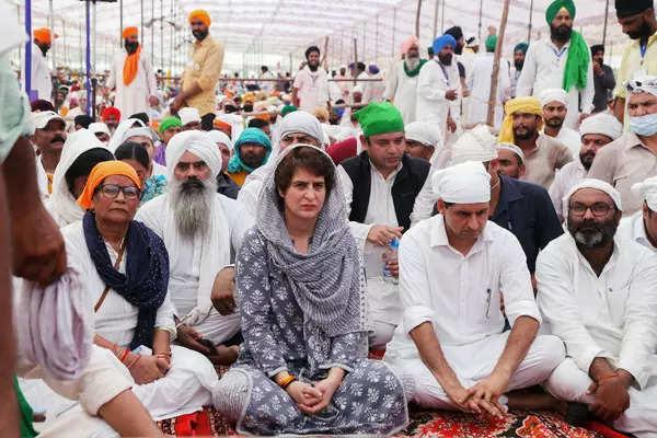 Priyanka Gandhi pays respects to deceased farmers in Lakhimpur Kheri