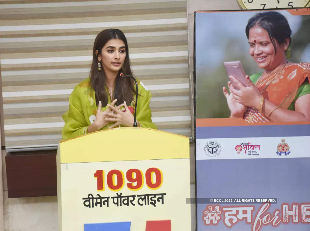 Pooja Hegde launches a campaign at WCSO Women Power Line 1090