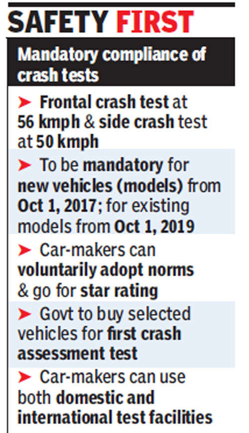 Crash tests to be mandatory for all new cars from October 2017