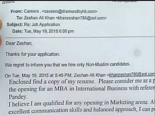Cops file case after Mumbai firm tells job-seeker 'we hire only non