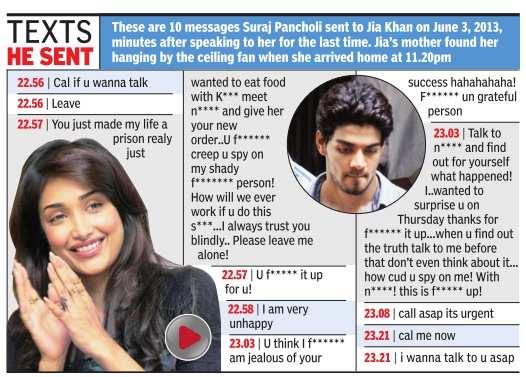 Suraj Pancholi sent Jiah Khan 'abusive text messages' less than an