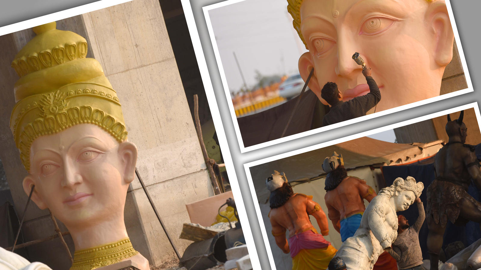 Sculpted figures being put up to create a mythological theme for Kumbh