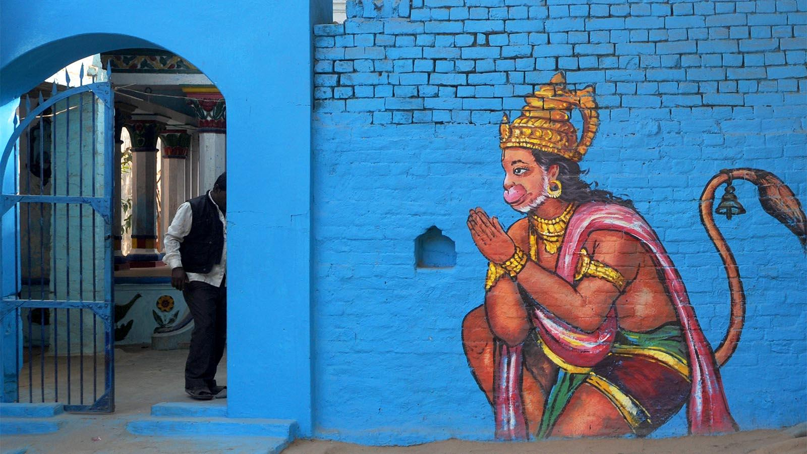 Hanuman adorns a wall
