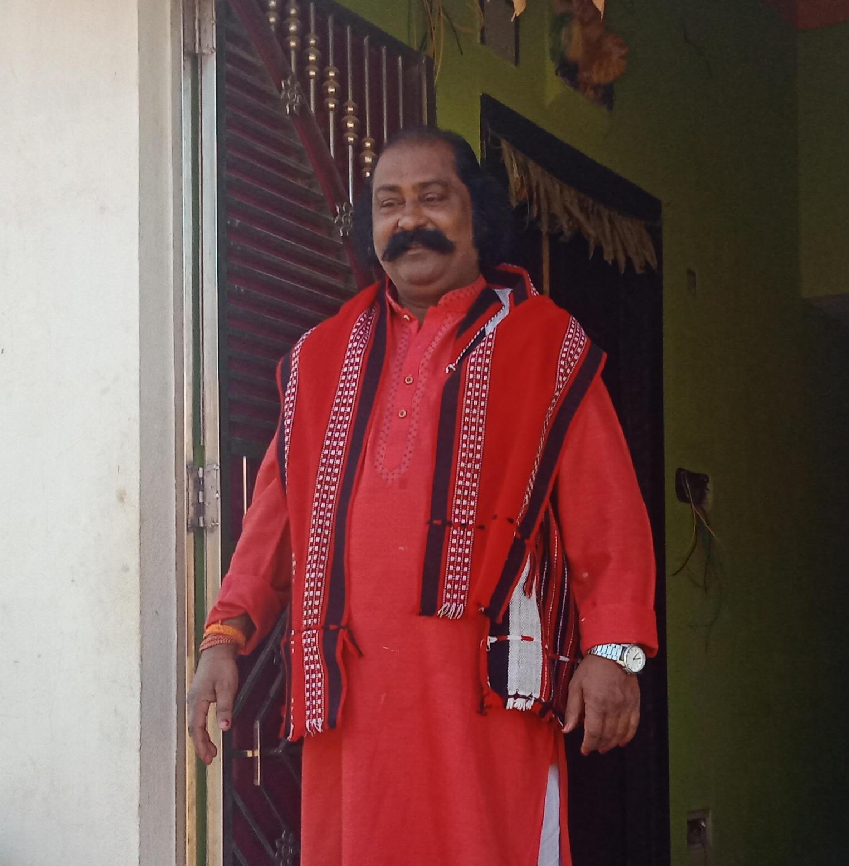 """People call me Kansa Maharaja throughout the year,"" Bhubaneswar Pradhan, the man who plays Kansa (Photo by Amandeep Saluja)"