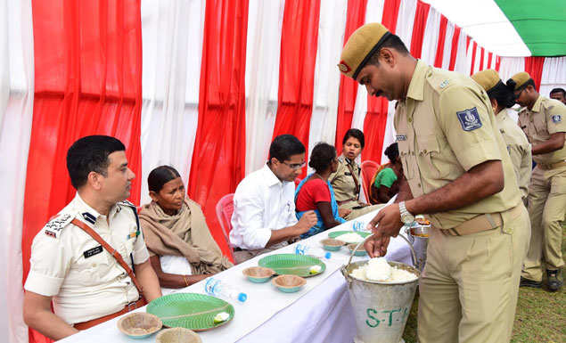 Witch-hunt victims dine with the police. Officials say they have been spreading awareness among tribals against the practice