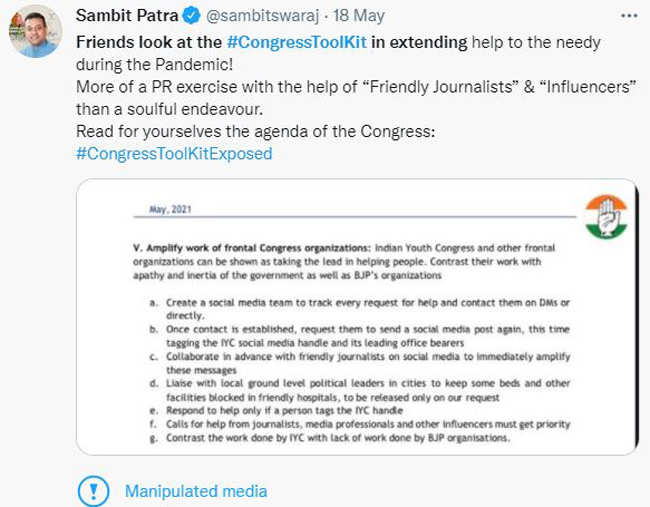 """Center asks Twitter to remove """"manipulated media"""" tag from toolkit tweets: Sources   India News"""