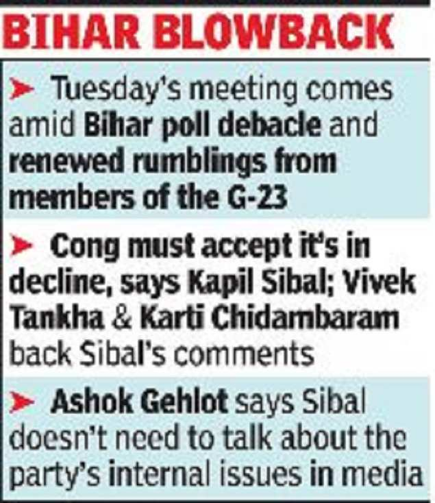 AICC special panel may discuss Bihar debacle and internal rumors |  India News