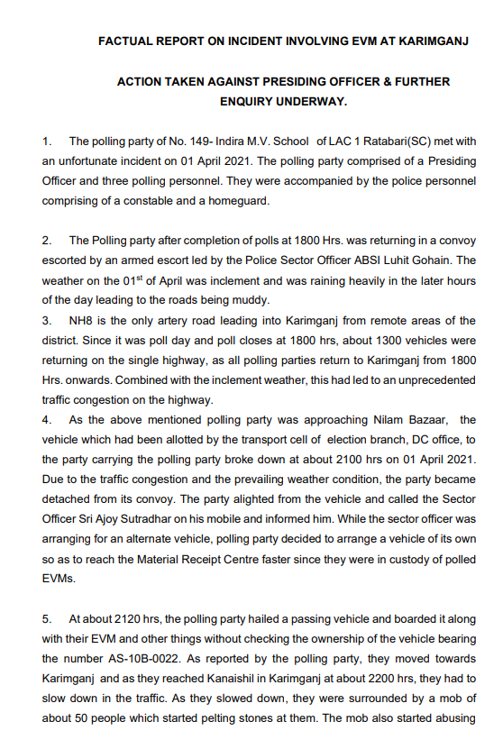 Assam EVM row: EC suspends four election officials, orders repoll | India News
