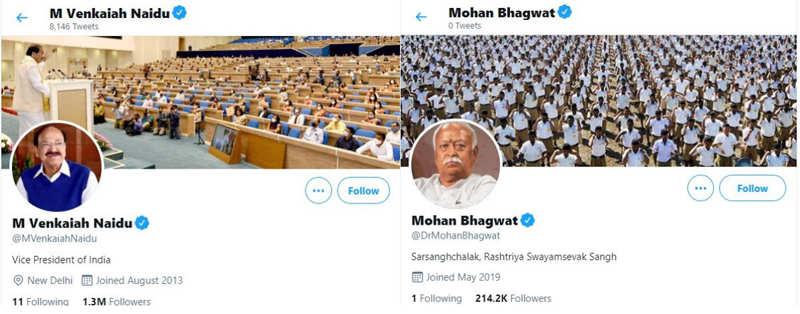 Twitter Resets Blue Checkmark of Vice President Venkaiah Naidu, Head of RSS Bhagwat | India News
