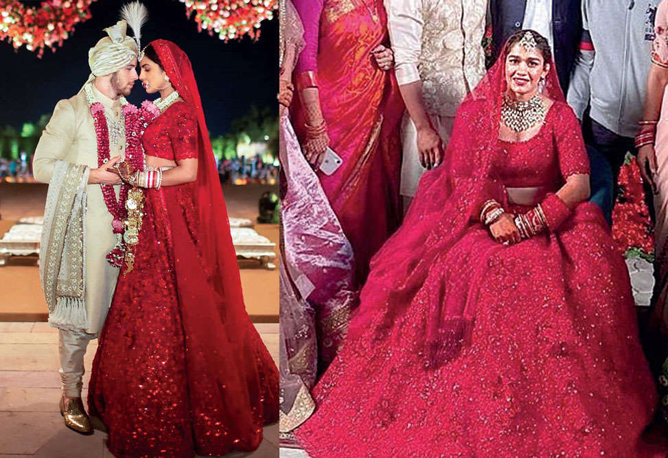 Bollywood Babita Phogat Chooses The Same Red Lehenga Priyanka