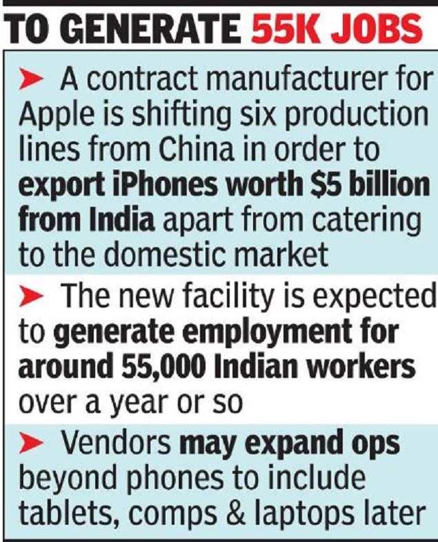 Apple vendor eyes production shift to India