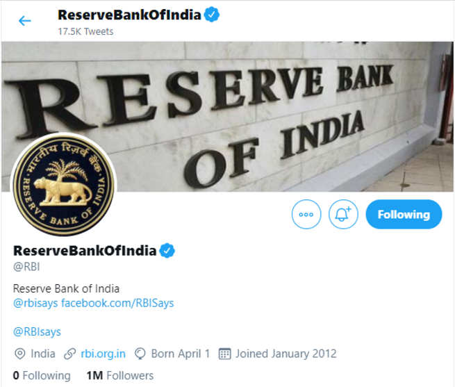 Reserve Bank of India crosses one million follower on Twitter - Times of India