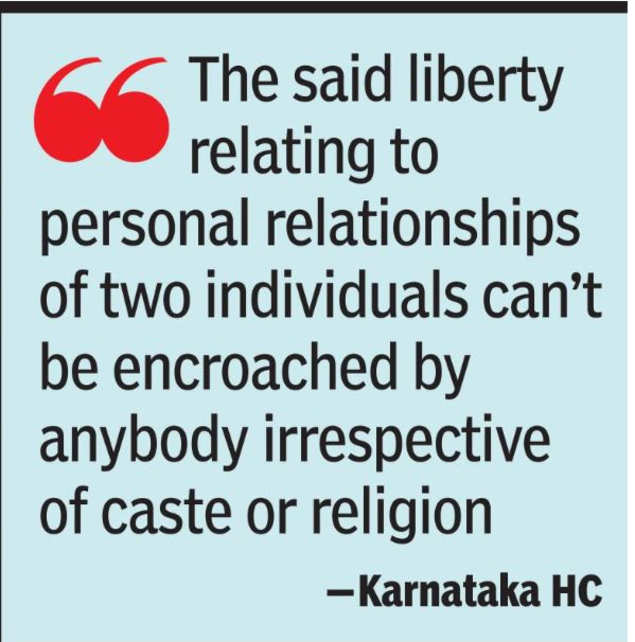 Getting married with a fundamental right of choice: Karnataka HC |  India News