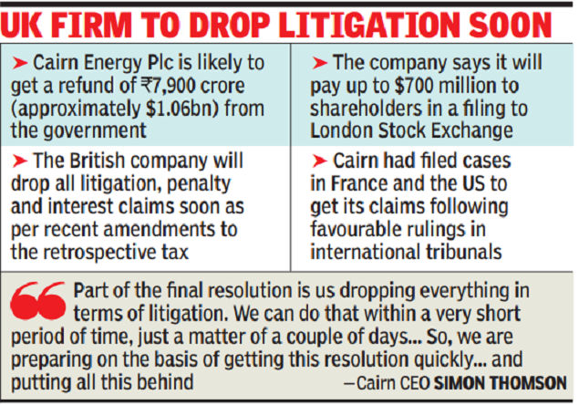 Cairn ready to settle India dispute, take billion refund