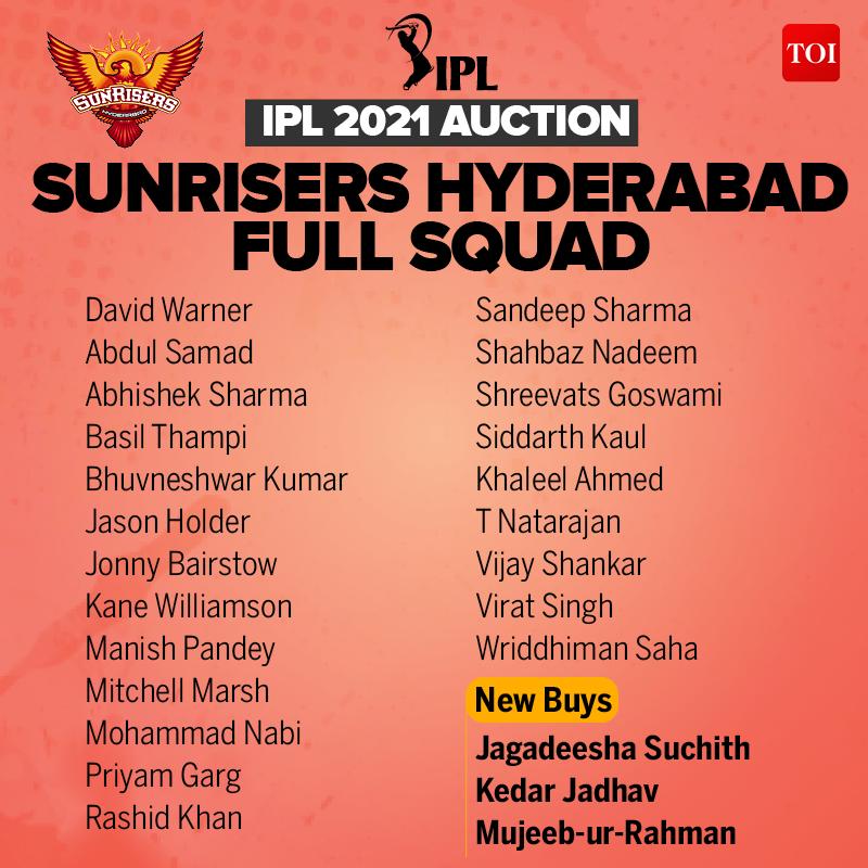 SRH Players List IPL 2021: Full Sunrisers Hyderabad Squad