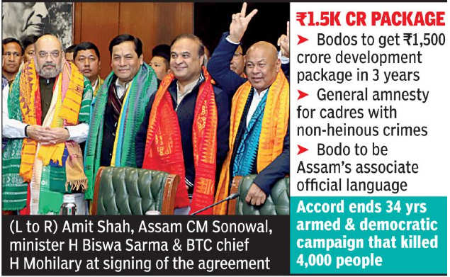 Bodo outfits drop demand for separate state, sign 'historic' pact | India News