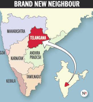telangana andhra pradesh karnataka map Karnataka Will Have 6 State Borders With The Addition Of Telangana telangana andhra pradesh karnataka map
