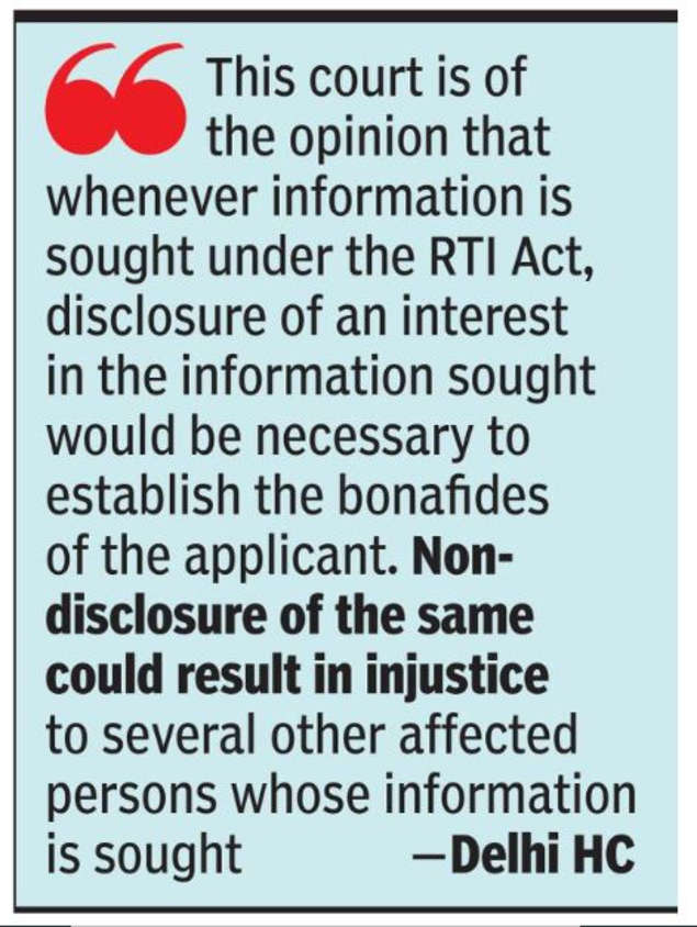RTI Applicant Must Reveal Interest In Searching Information, Says Delhi HC |  India News