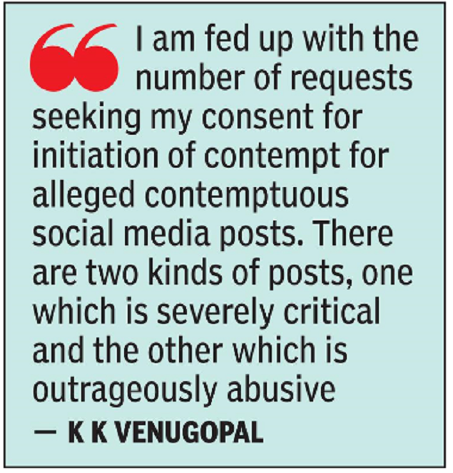 Stopping freedom of expression on social media is wrong: Attorney General KK Venugopal |  India News