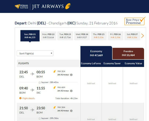 Rs 55,000 for Delhi-Chandigarh flight: Airlines cash in on