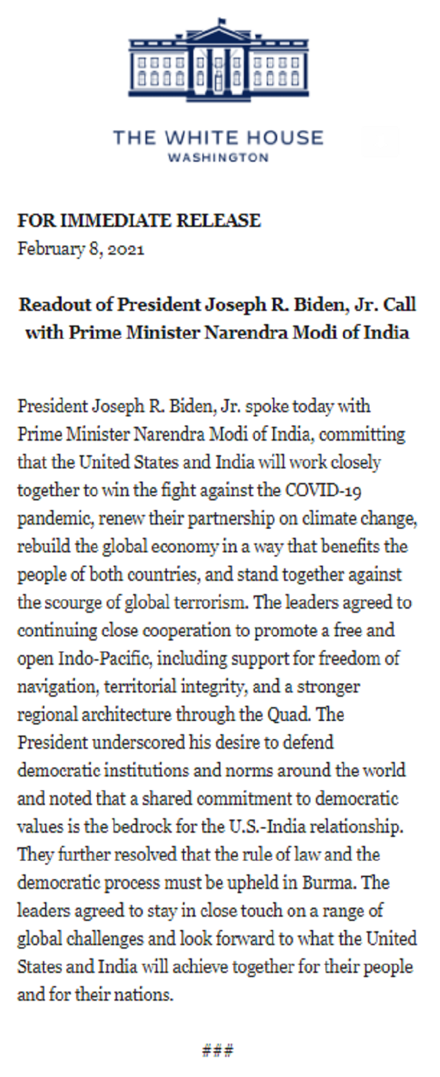 Indo-Pacific appears in the first Modi-Biden chat | India News