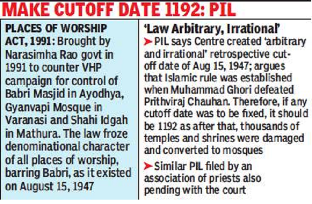 SC seeks the government's response on the validity of the Law on places of worship | India News