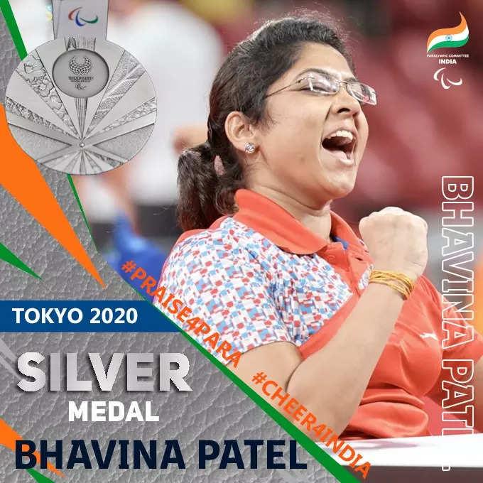 Paddler Bhavinaben Patel wins historic silver at Tokyo Paralympics | Tokyo  Paralympics News - Times of India