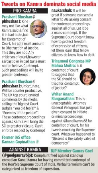 AG nod for contempt case against Kunal Kamra for tweets against SC | India News - Times of India
