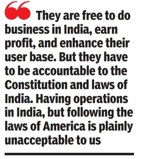 The rules protect the rights of users, they were framed because the giants of social networks did not: the minister of IT and law, Ravi Shankar Prasad   India News