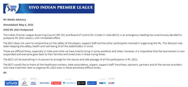 IPL 2021 Postponed due to Covid-19 Cases, Says BCCI