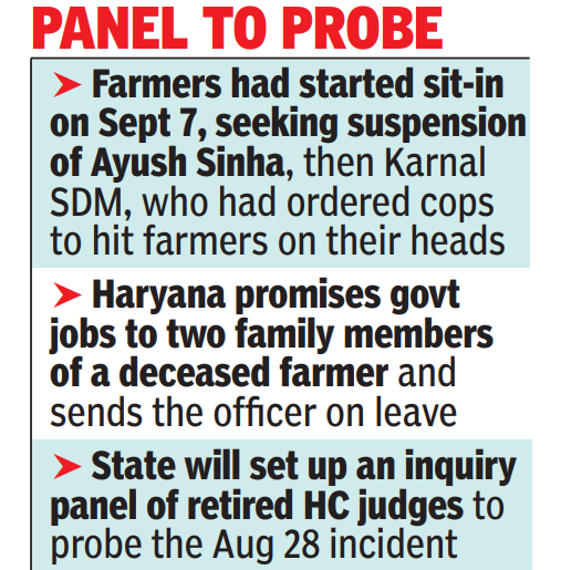 Judicial probe ordered into August 28 Karnal episode, farmers call off sit-in
