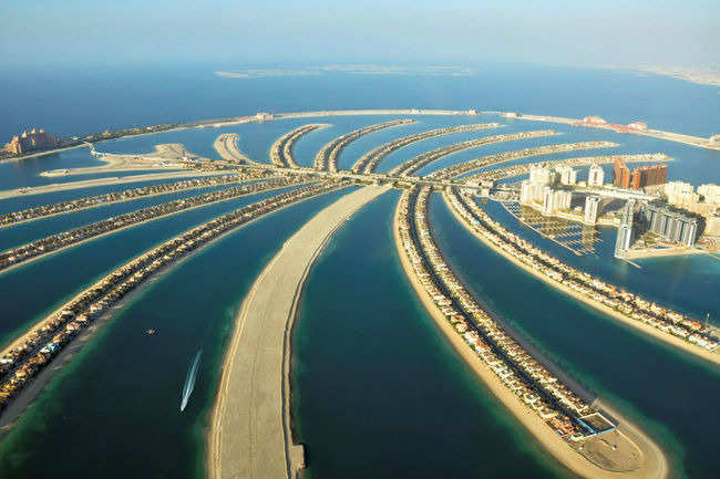 Skydiving above the Palm Jumeirah