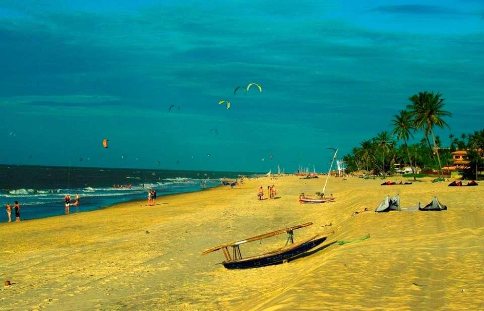 Kitesurfing along the northeast coast of Brazil