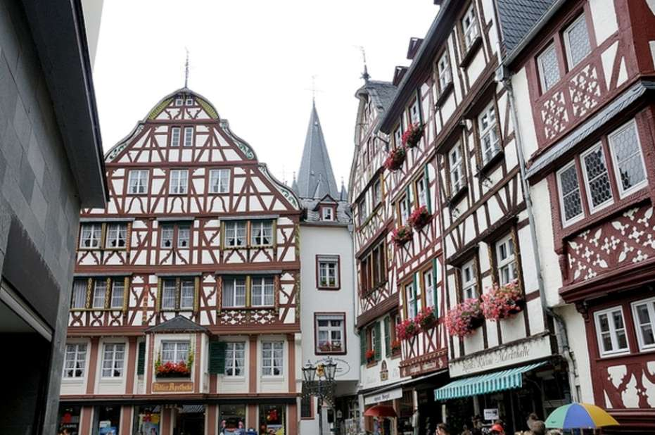 The medieval market square of Bernkastel-Kues in Moselle valley