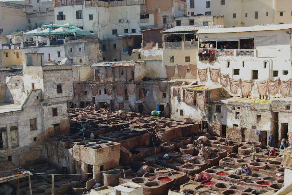 Leather tanneries of Fez in Morocco