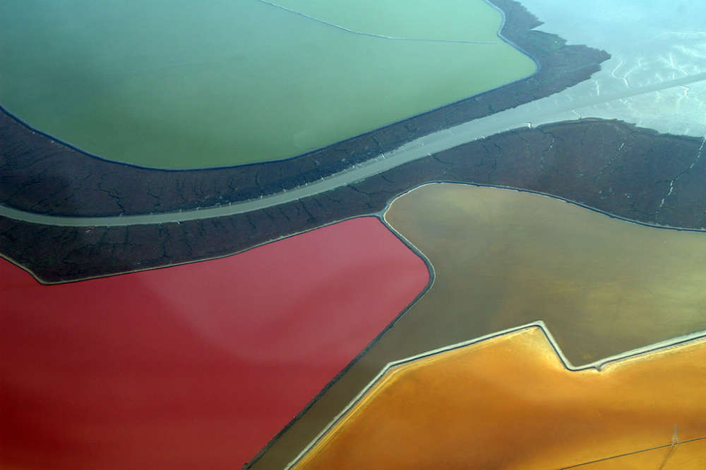 The multi-coloured salt ponds at San Francisco Bay
