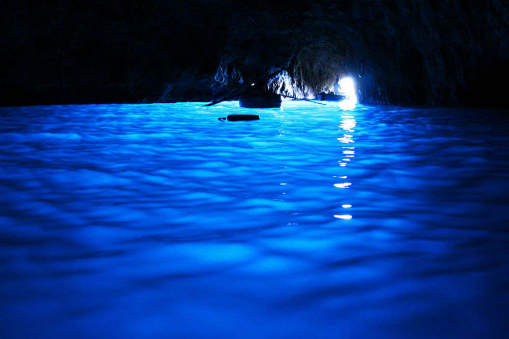 The stunning sea cave of Blue Grotto in Capri