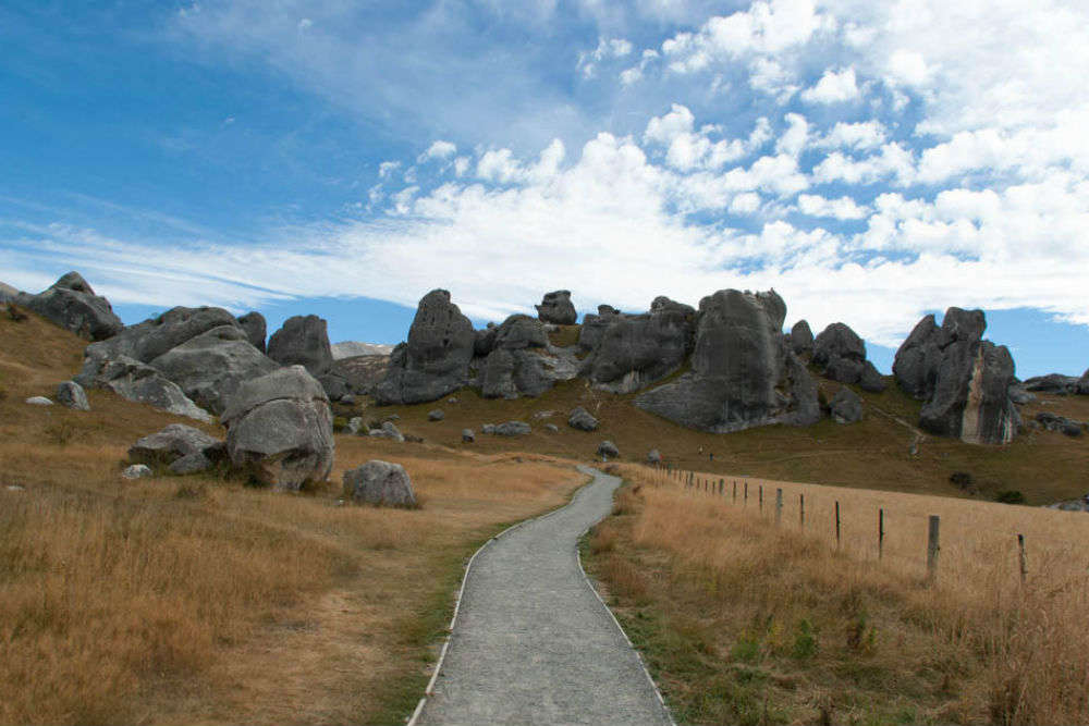 The stunning limestone boulders of Castle Hill in New Zealand