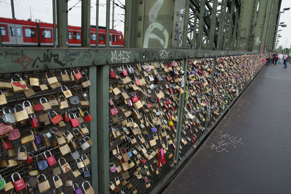 Love padlocks of Hohenzollernbruecke Bridge