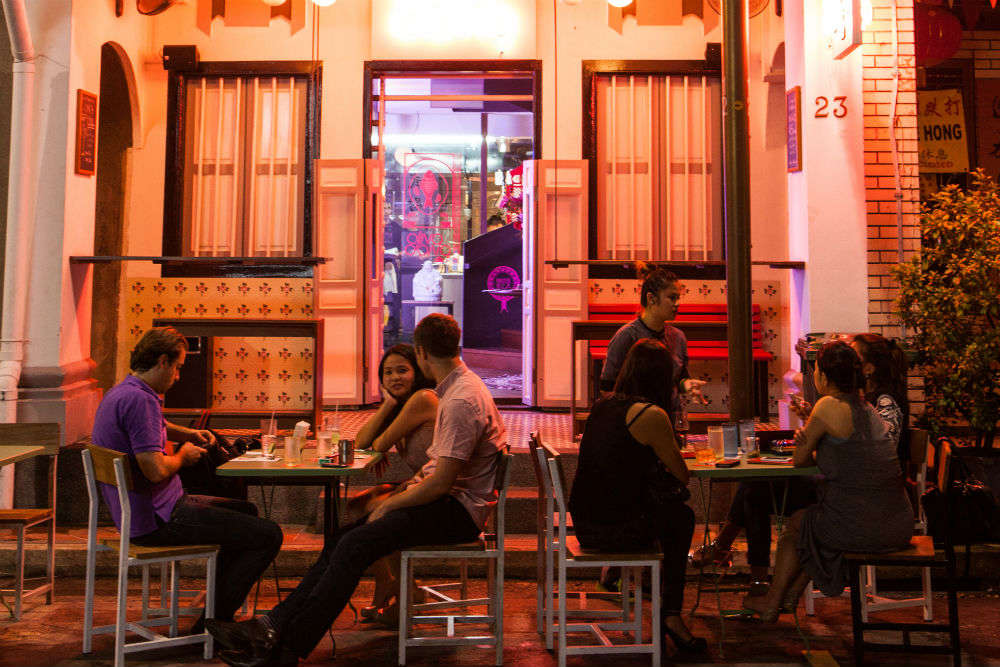 Cuisine and crowds along a stretch of Singapore