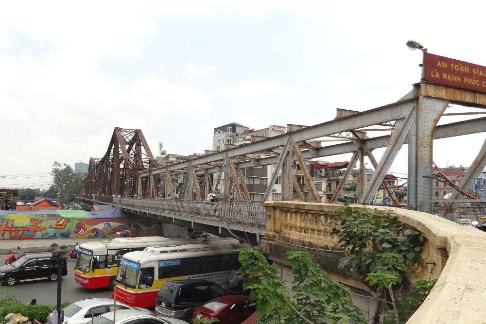 The historic Long Bien Bridge
