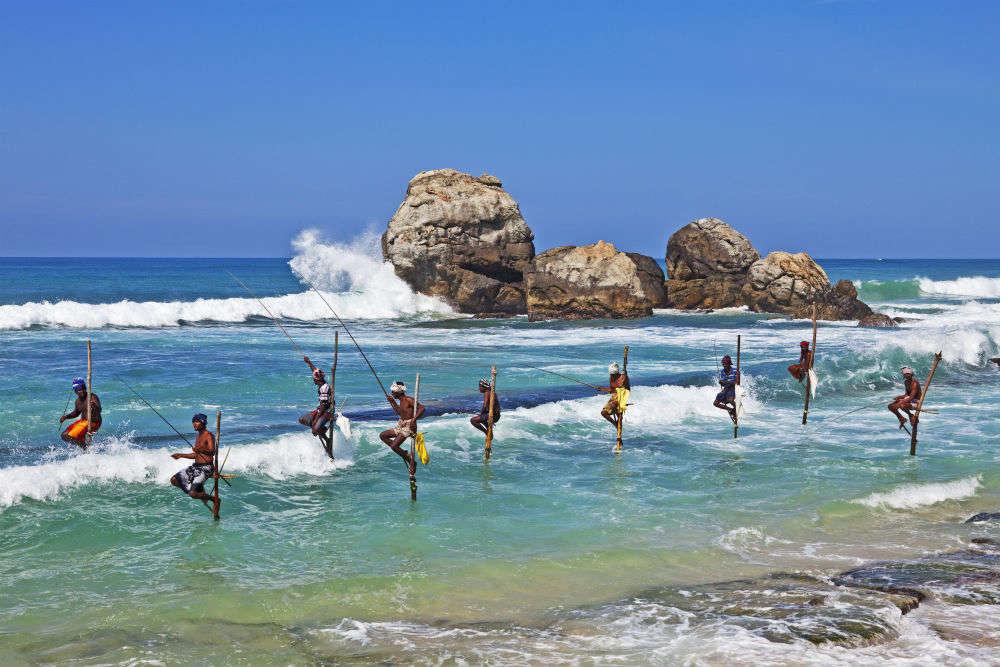 Koggala Beach—home to famous stilt fishermen
