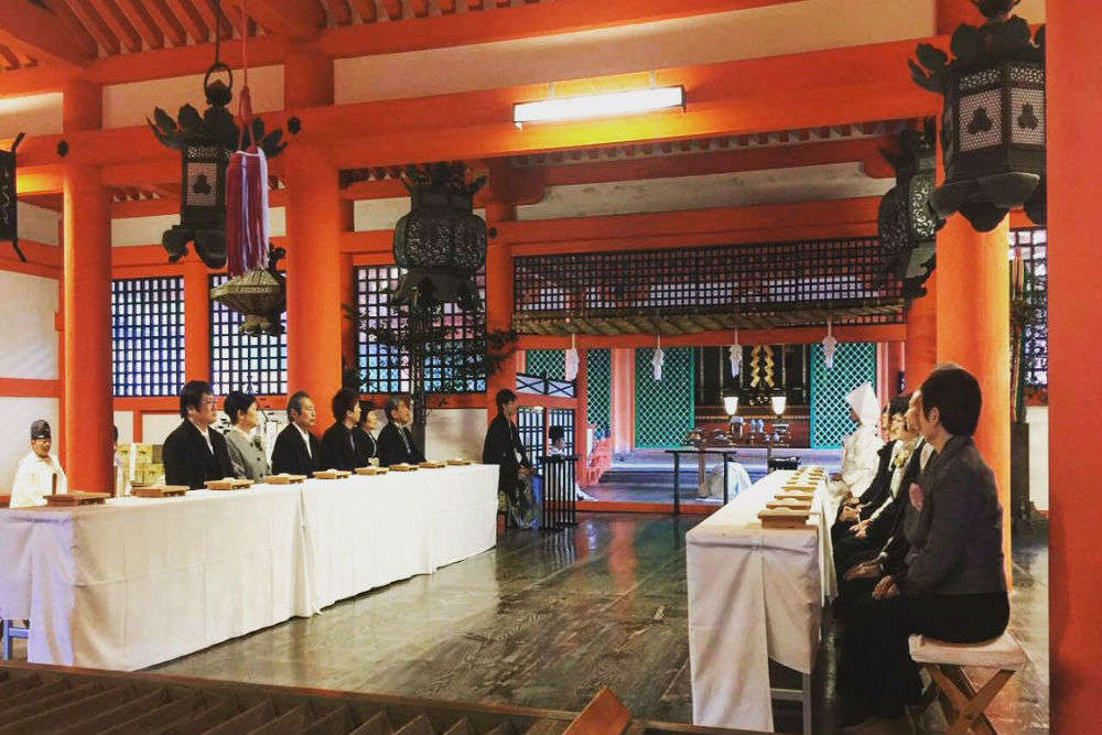 Witness a traditional Japanese wedding in the Itsukushima Shrine